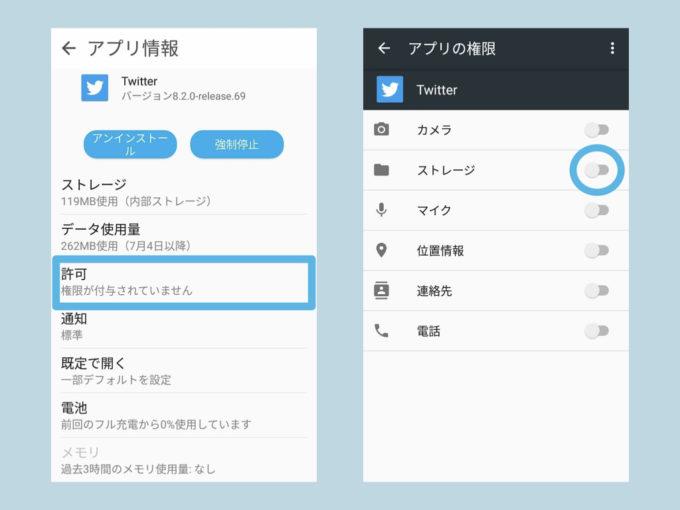 AndroidでTwitterの権限を変更する