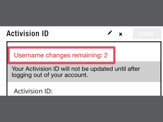 Username changes remaining